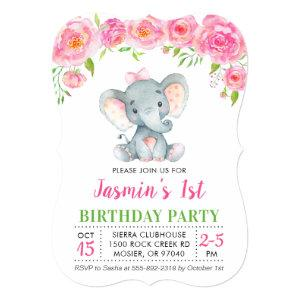 1st First Birthday Girl Floral Pink Elephant Party Invitation