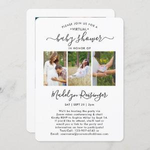 4 Photo Virtual Long Distance Baby Shower by Mail Invitation