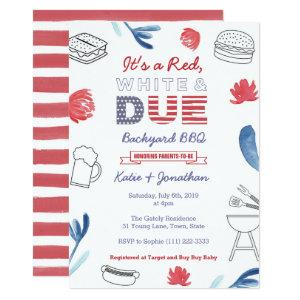 4th July Baby Shower Red White Blue Backyard BBQ Invitation