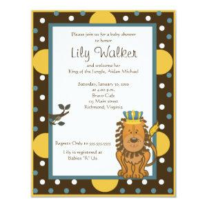 4x5 size King of the Jungle Brown/Orange dot Invitation