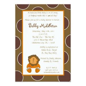 5x7 Baby Lion Zoo Animal  Baby Shower Invitation