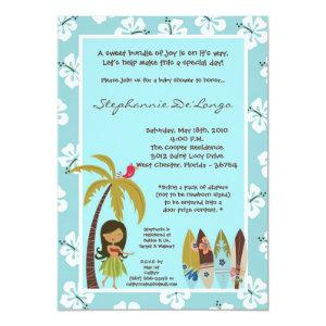 5x7 Hawaiian Luau Tropical Baby Shower Invitation
