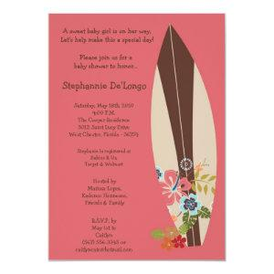 5x7 Surfer Baby Surf Boards Baby Shower Invitation