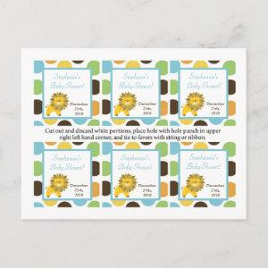 6 Favor Tags Jungle King Lion Safari Zoo Animal Invitation Postcard
