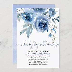 A baby boy is blooming navy blue baby shower