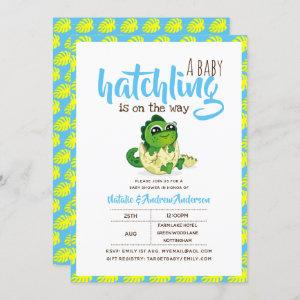 A Baby Hatchling Is On The Way Dinosaur Cute Blue Invitation
