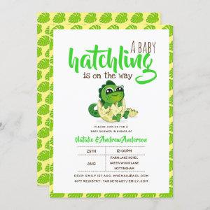 A Baby Hatchling Is On The Way Dinosaur Cute Green Invitation