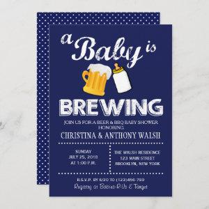 A Baby is Brewing Baby Shower Chalk BBQ Invitation