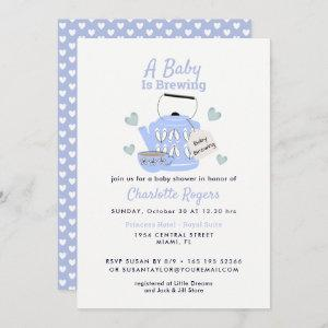 A Baby Is Brewing Blue Baby Shower Invitation