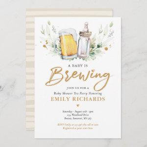 A Baby Is Brewing Greenery Beer Coed Baby Shower