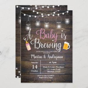 A baby is brewing invitation Girl pink invitation