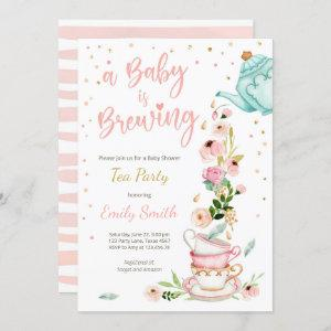 A Baby is Brewing Invitation Tea Party Baby Shower