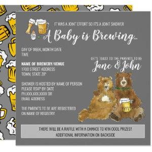 A Baby is Brewing - Joint Baby Shower Invitation