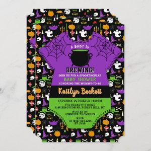 """""""A Baby Is Brewing"""" Modern Halloween Baby Shower"""