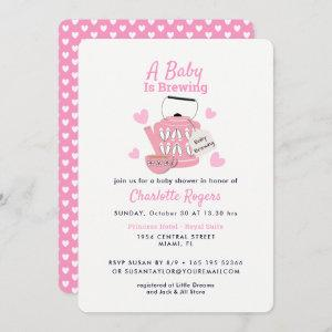 A Baby Is Brewing Pink Baby Girl Shower Invitation
