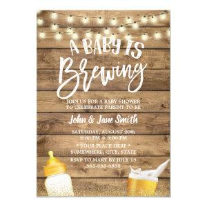 A Baby is Brewing Rustic Barn Beer Baby Shower Invitation