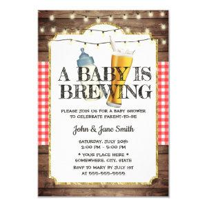 A Baby is Brewing Rustic Beer Baby Shower Invitation