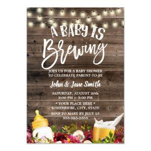 A Baby is Brewing Rustic Floral Beer Baby Shower Invitation