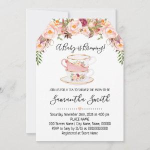 A Baby is brewing tea baby shower pink invitation