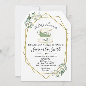A Baby is brewing tea greenery shower invitation