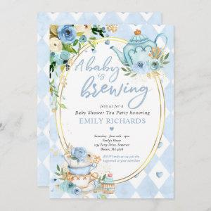 A Baby Is Brewing Tea Party Baby Shower Blue Roses Invitation