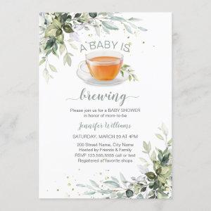 A baby is brewing Tea Party Baby Shower Invitation
