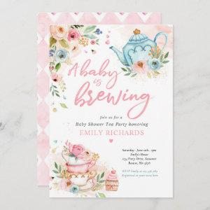 A Baby Is Brewing Tea Party Baby Shower Pink Roses