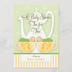 A Baby Shower Tea Party  |  Gender Neutral Twins Invitation