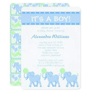 A Blue Circus | Baby Shower Its A Boy Adorable Invitation