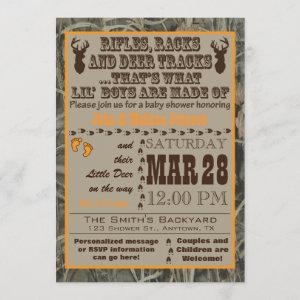 A Little Boys Hunting Camo Baby Shower Invitations
