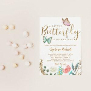 A Little Butterfly Is On Her Way Gold Baby Shower