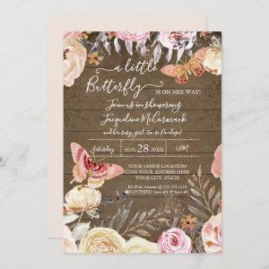 A Little Butterfly Rustic Watercolor Floral Baby Invitation