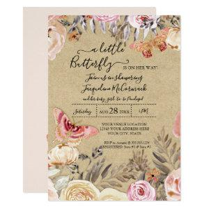 A Little Butterfly Watercolor Blush Floral Baby Invitation