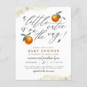 A Little Cutie Is On The Way Orange Baby Shower Invitation Postcard