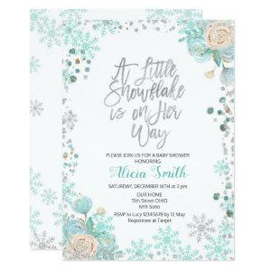A Little Snowflake is on Her Way Baby Shower Invitation