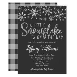 A Little Snowflake Silver Glitter Baby Shower Invitation