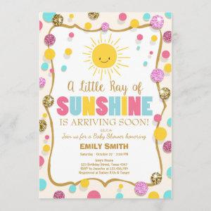 A Ray of Sunshine Baby Shower invitation Pink Blue