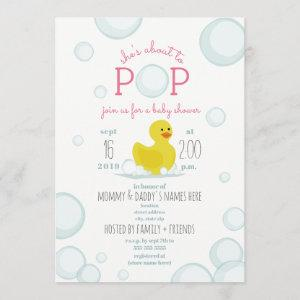 About To Pop Rubber Duck Bubbles Baby Shower Invitation