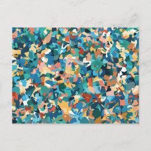 Abstract Multicolored Art in Shirt and Home Decor  Postcard