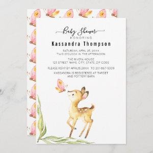 Adorable Baby Deer With Butterfly Baby Shower Invitation