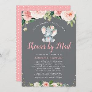 Adorable baby elephant pink floral shower by mail