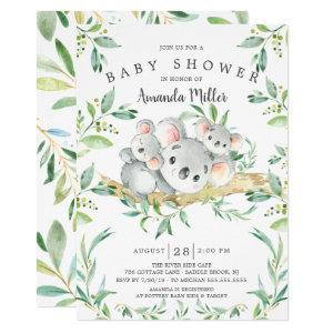 Adorable Koala BearTwins Baby Shower Invitation
