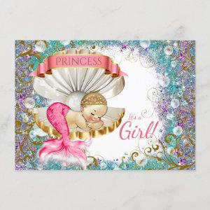 Adorable Little Mermaid Baby Shower Invitations