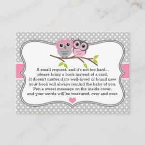 Adorable Owls Baby Shower Book Request Card