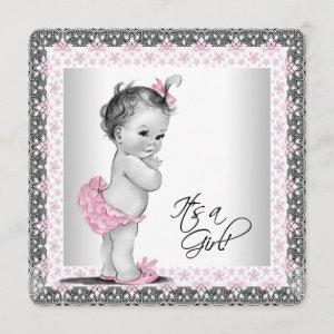 Adorable Pink and Gray Baby Girl Shower