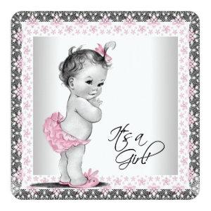 Adorable Pink and Gray Baby Girl Shower Invitation