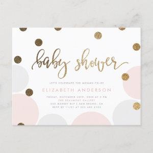 Adorable Pink and Gray Pastel Bubbles Baby Shower Invitation Postcard