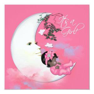 Adorable Pink Moon Baby Girl Shower Invitation