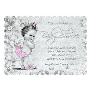 Adorable Vintage Pink and Gray Baby Shower Invitation