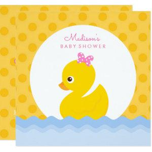 Adorable Yellow and Pink Duck Baby Shower Invitati Invitation
